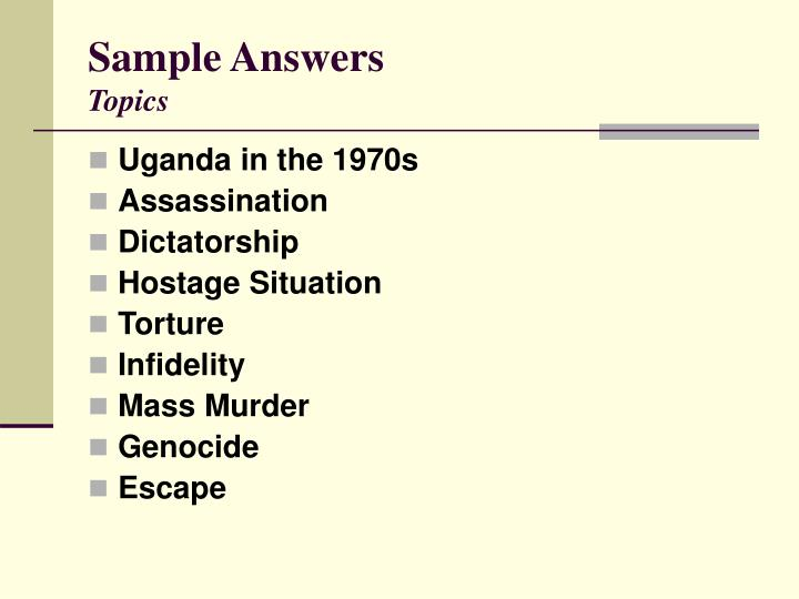 Sample answers topics