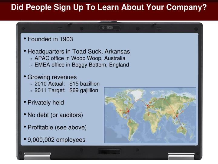 Did People Sign Up To Learn About Your Company?