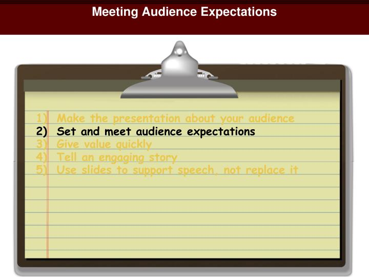 Meeting Audience Expectations
