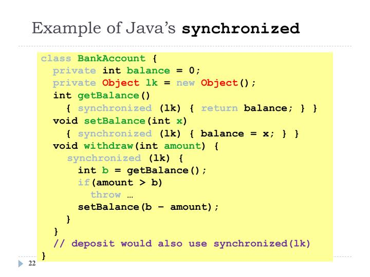 Example of Java's