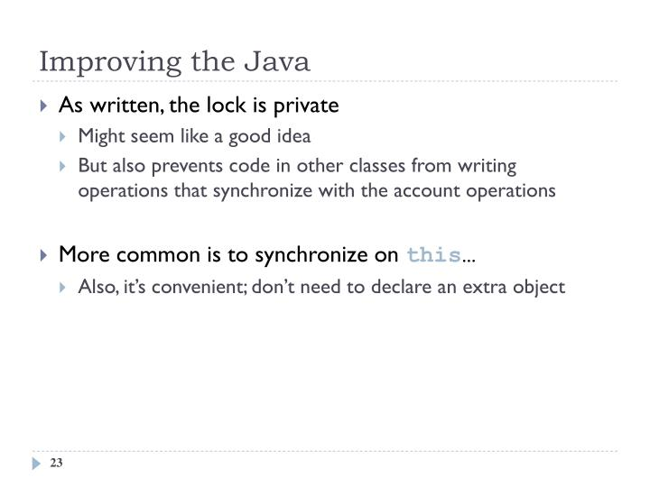 Improving the Java