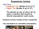 examination content