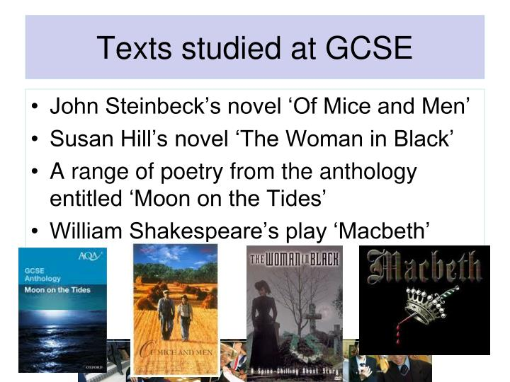 Texts studied at GCSE