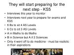 they will start preparing for the next step ks5