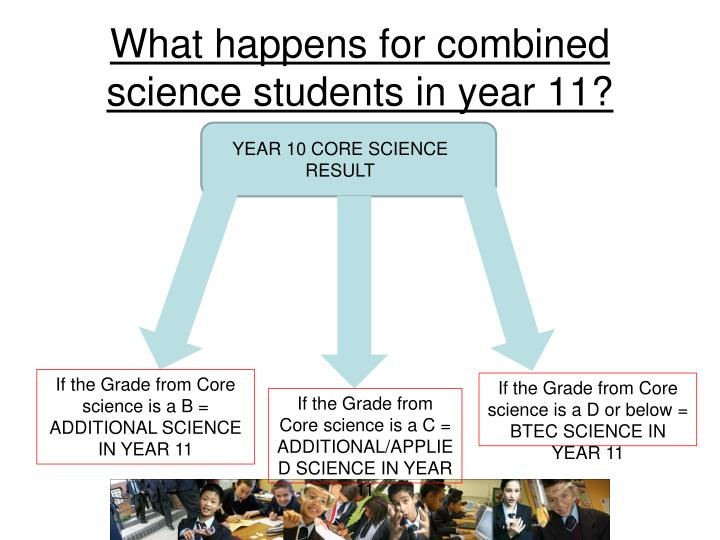 What happens for combined science students in year 11?