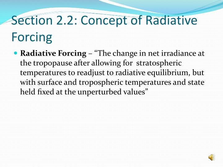 Section 2 2 concept of radiative forcing