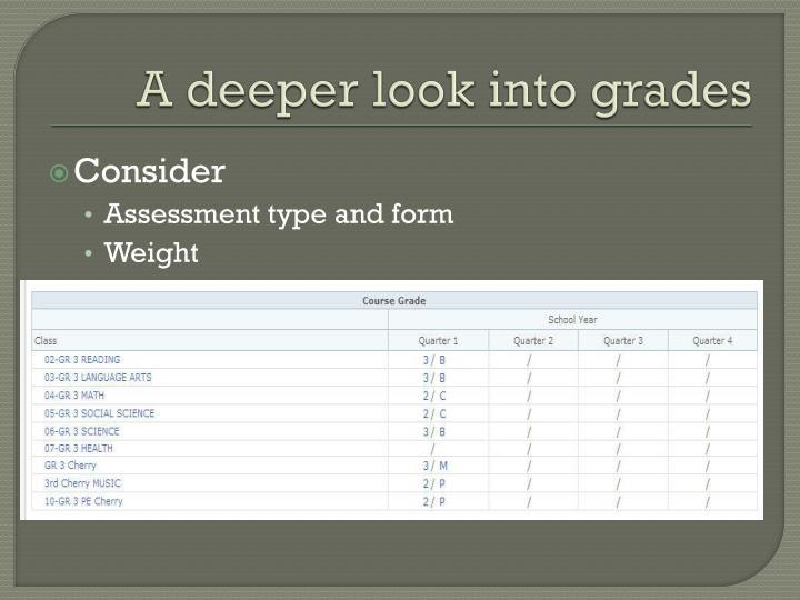 A deeper look into grades