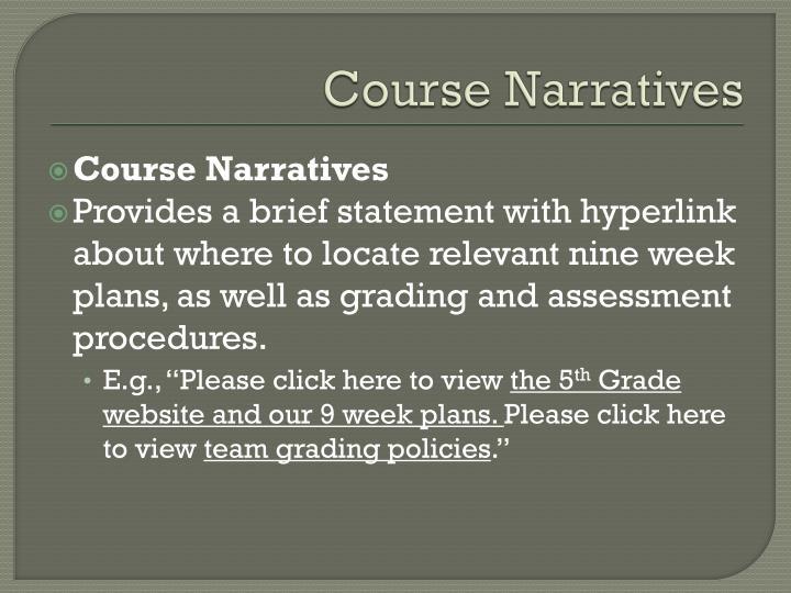 Course Narratives