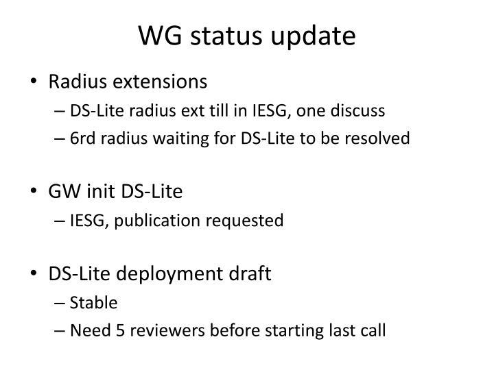 WG status update