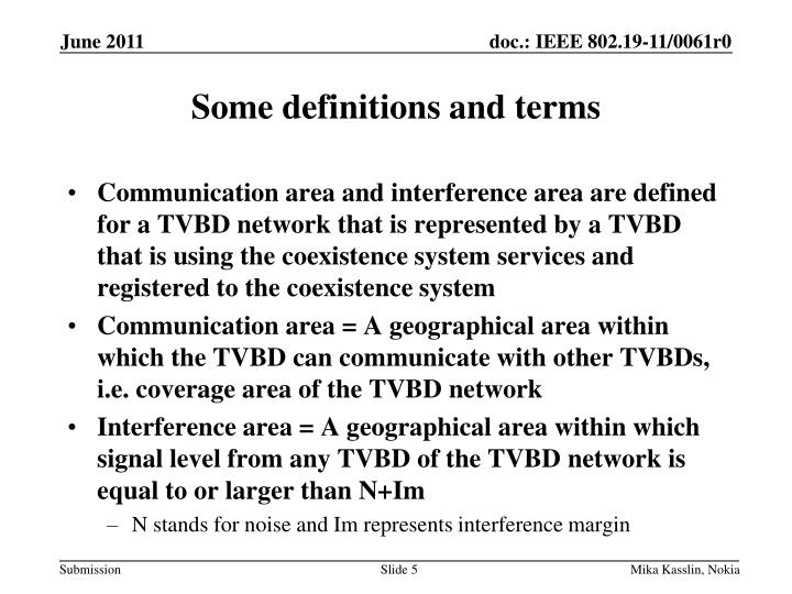 Some definitions and terms