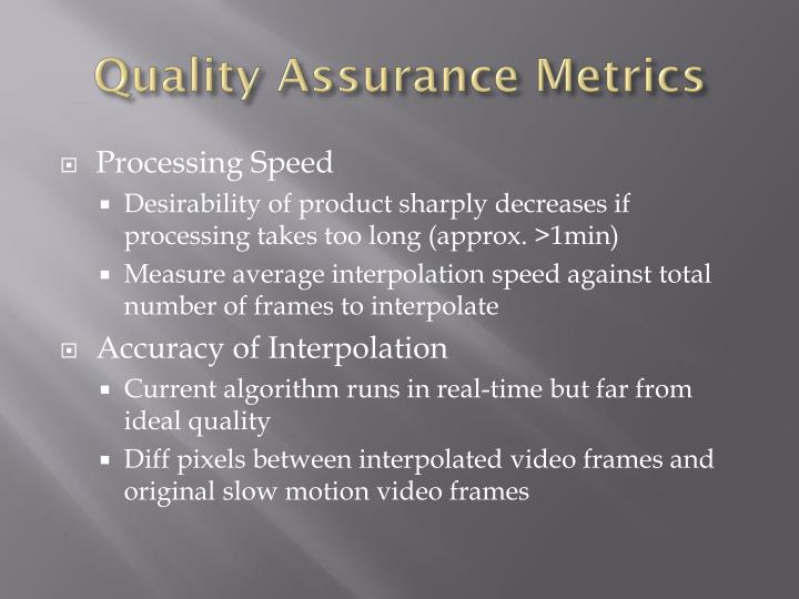 Quality Assurance Metrics