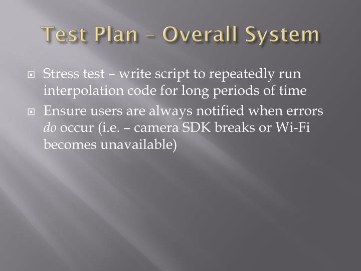 Test Plan –