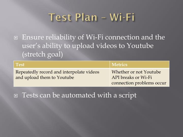 Test Plan – Wi-Fi