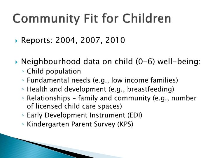 Community Fit for Children
