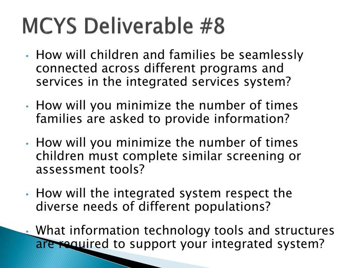 Mcys deliverable 8