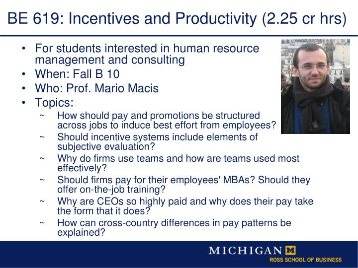BE 619: Incentives and Productivity (2.25 cr hrs)