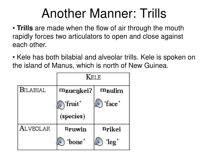 Another Manner: Trills