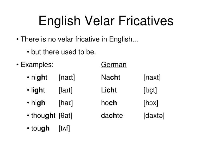 English Velar Fricatives