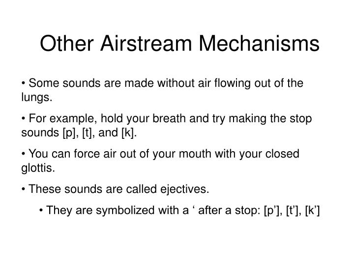 Other Airstream Mechanisms
