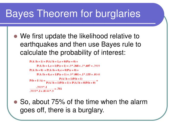 Bayes Theorem for burglaries