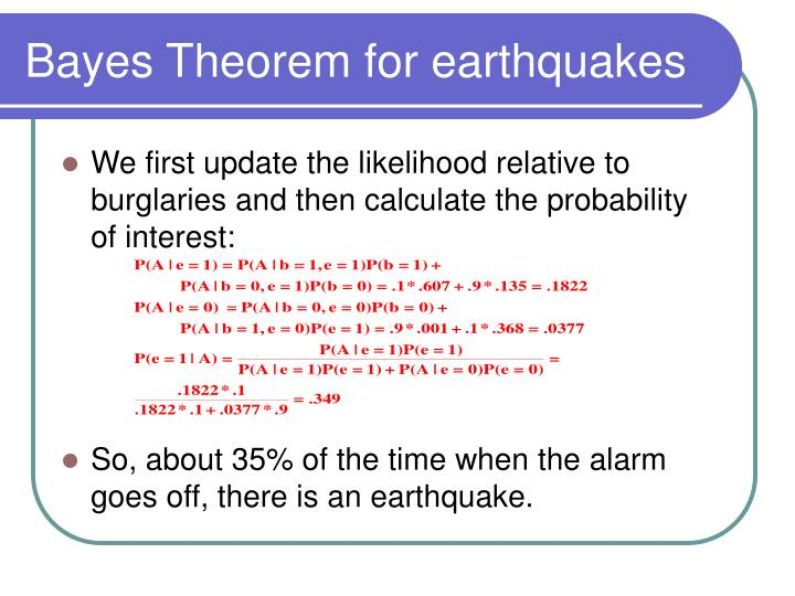 Bayes Theorem for earthquakes
