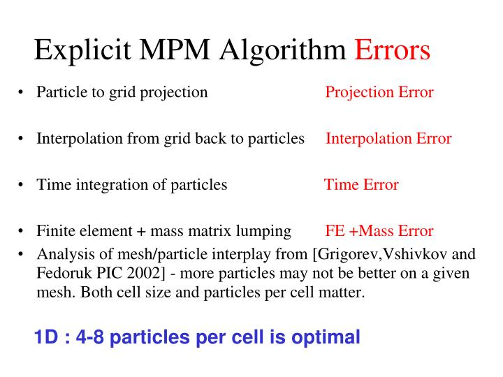 Explicit MPM Algorithm