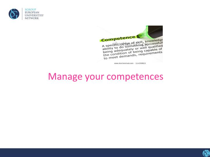 Manage your competences