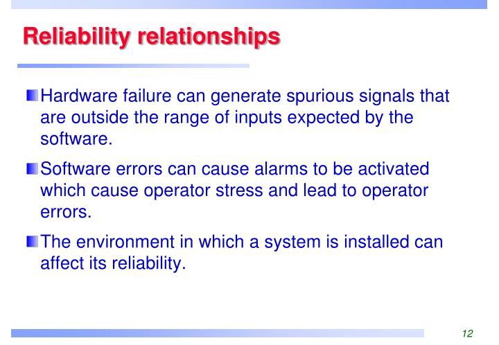 Reliability relationships