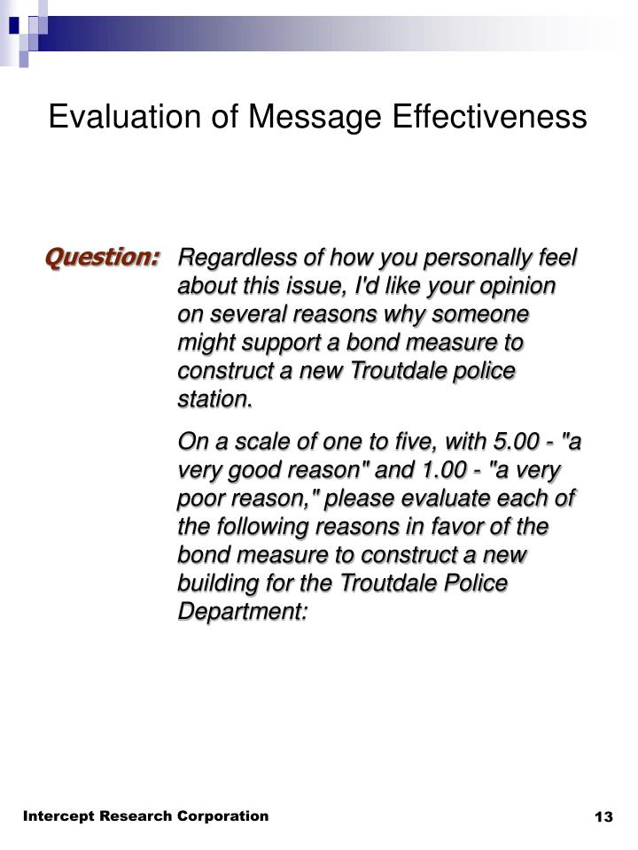 Evaluation of Message Effectiveness
