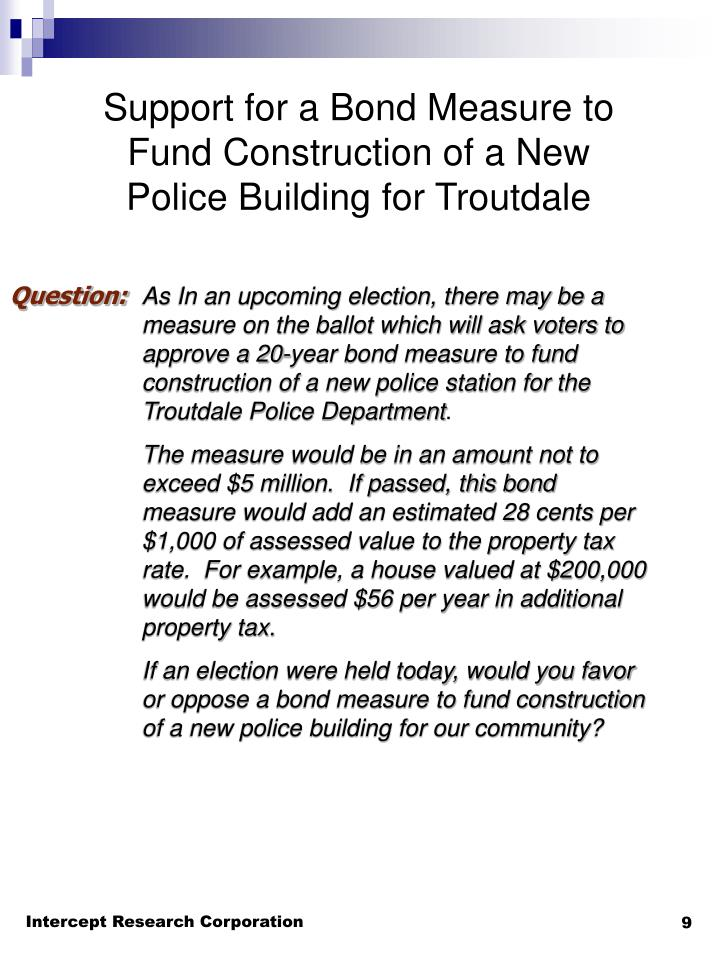 Support for a Bond Measure to