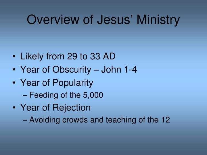 Overview of Jesus' Ministry