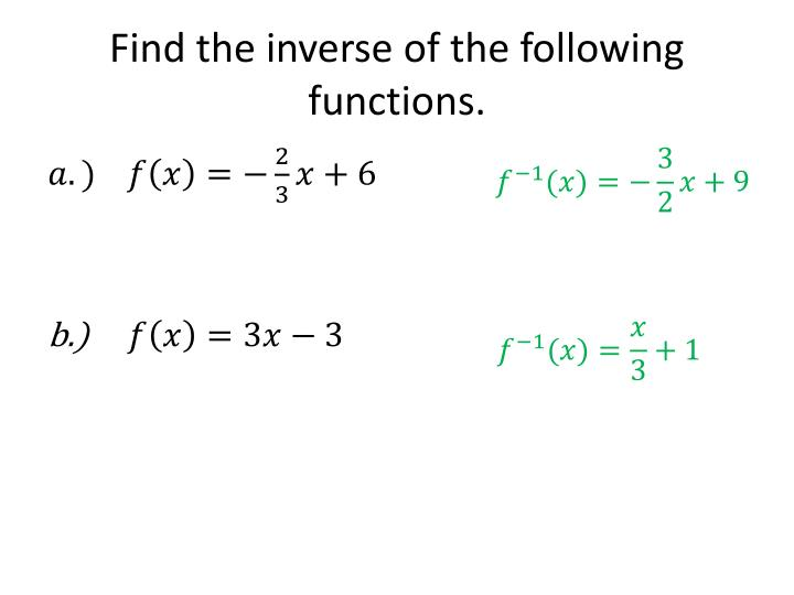 Find the inverse of the following functions.