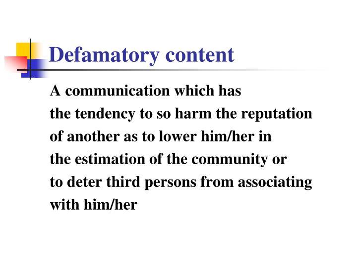 Defamatory content