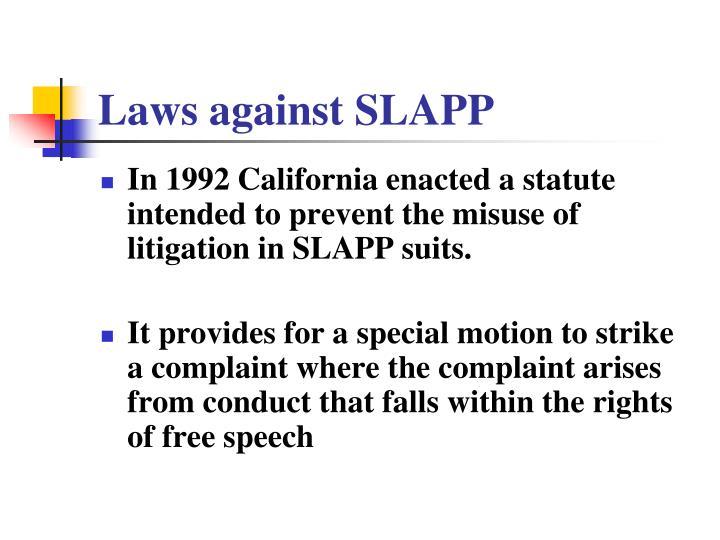 Laws against SLAPP