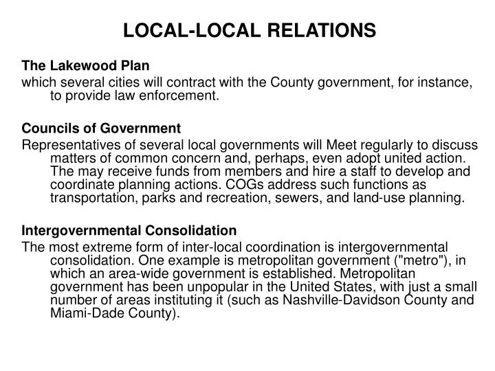 LOCAL-LOCAL RELATIONS