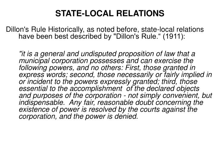 STATE-LOCAL RELATIONS