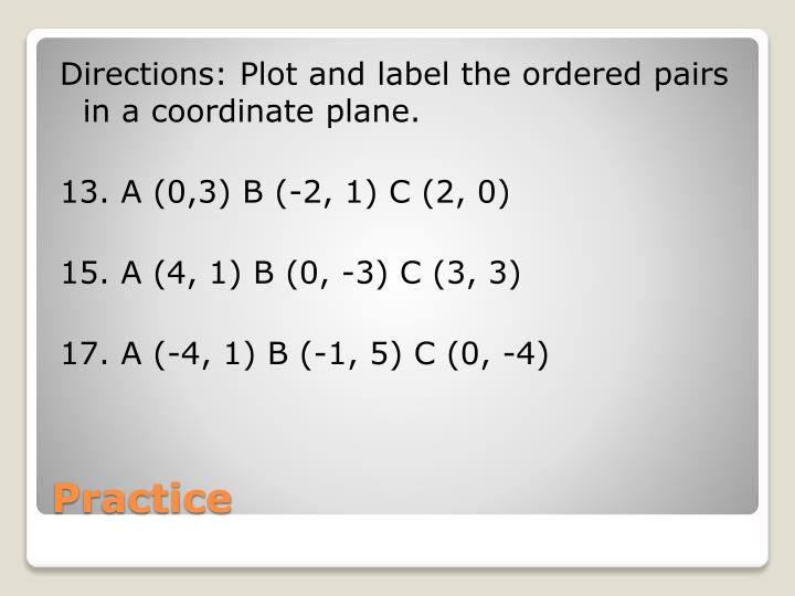 Directions: Plot and label the ordered pairs in a coordinate plane.