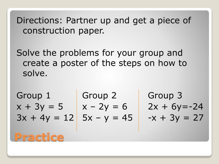 Directions: Partner up and get a piece of construction paper.