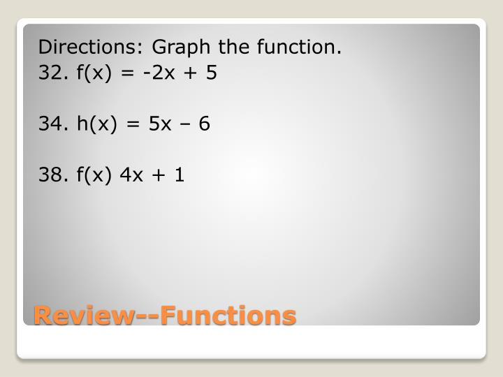 Directions: Graph the function.