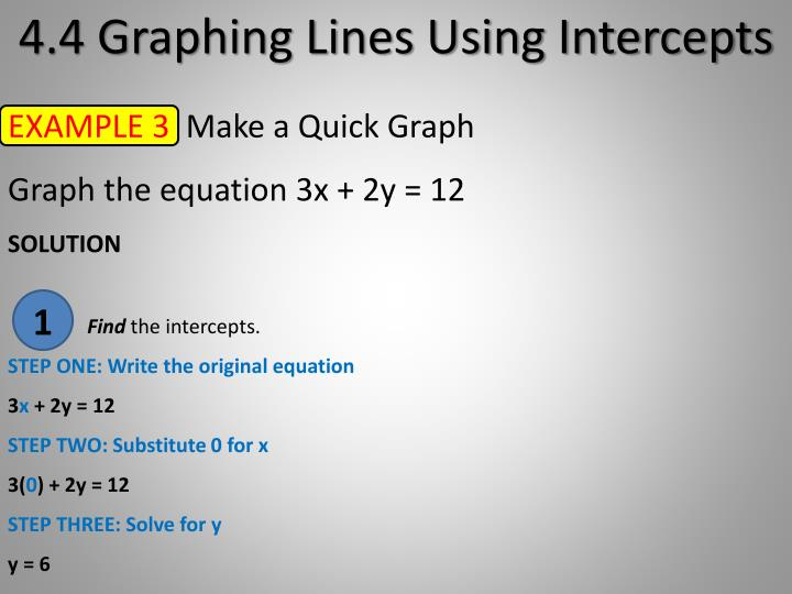 4.4 Graphing Lines Using Intercepts
