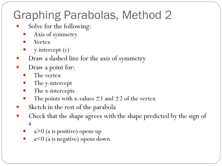 Graphing Parabolas, Method 2
