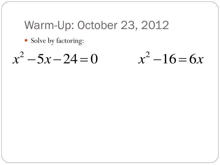 Warm-Up: October