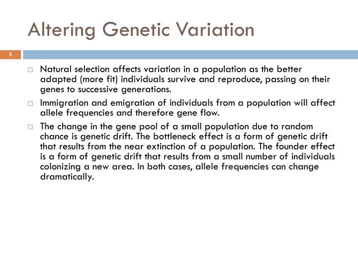 Altering Genetic Variation