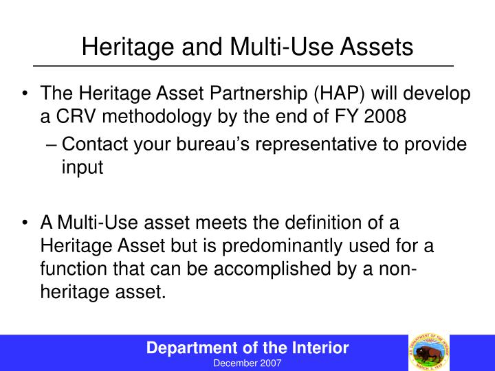 Heritage and Multi-Use Assets