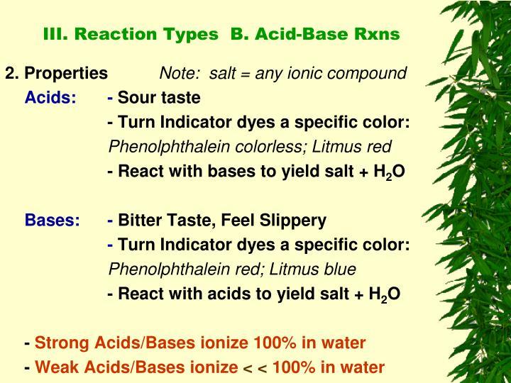 III. Reaction Types  B. Acid-Base Rxns