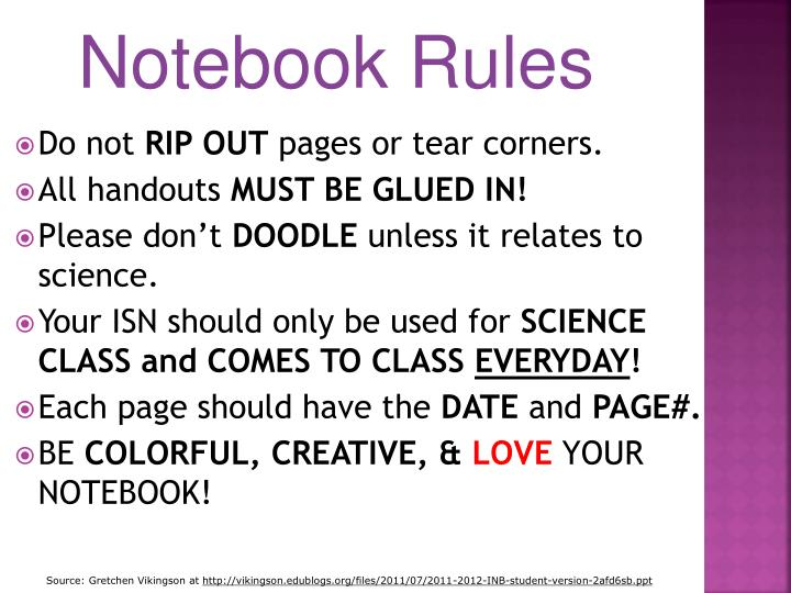 Notebook Rules