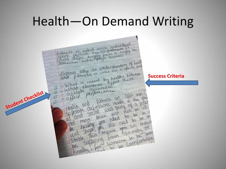 Health—On Demand Writing