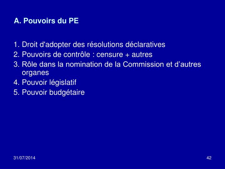 A. Pouvoirs du PE