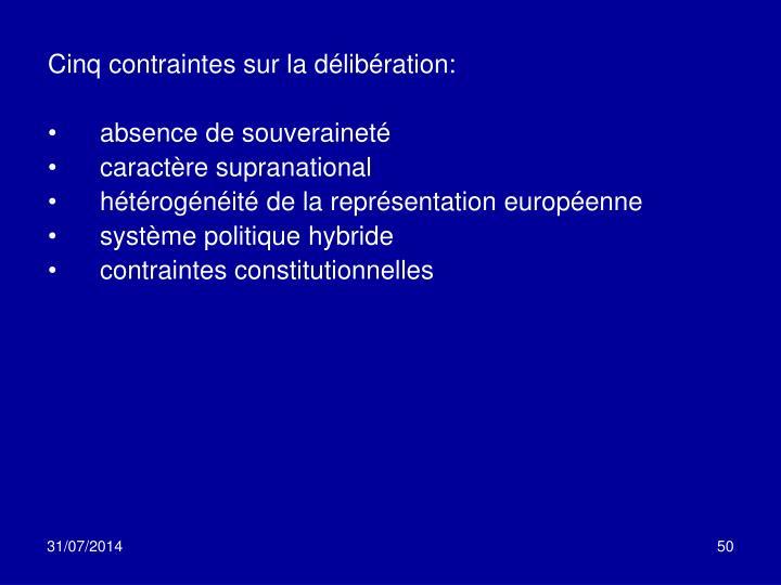 Cinq contraintes sur la délibération: