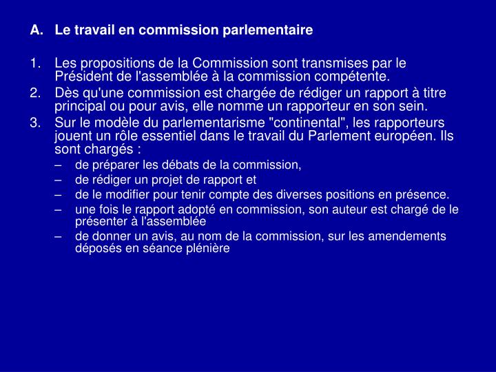 Le travail en commission parlementaire